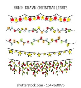 vector set hand draw christmas lights. festive garland for decor drawing doodle