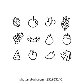Vector set of hand draw fruit icon