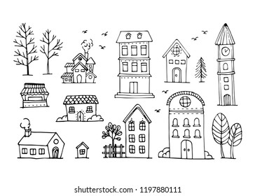 Vector set of hand draw house, building