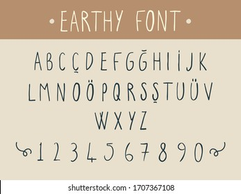 Vector set of hand drawing alphabet, natural, earthy font character design, including numbers