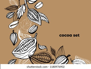 Vector set of hand drawing of cocoa, cocoa branches, leaves, coffee and chocolate. Cocoa bean tree design template. Engraved style illustration. Chocolate cocoa beans.
