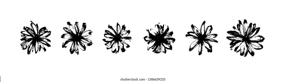 Vector set of hand drawn abstract modern flowers painted by ink. Grunge style brush painting vector blossom silhouettes. Black isolated imprint on white background.