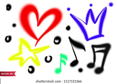 Vector set of hand drawn airbrush symbols. Various color hand drawn crown, heart, star and music sheets.