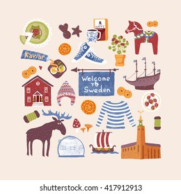 Vector set with hand drawn art design elements or symbols of Sweden. Traditional Swedish food, clothes, landmarks. Clipart for greeting cards and fabric about Scandinavia.