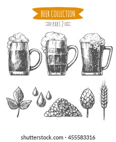 Vector set of  hand drawn beer glasses, mugs and ingredients isolated on white background.