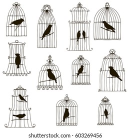vector set of hand drawn birds in cages silhouettes isolated at white background