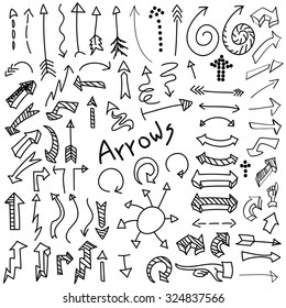 Vector set of hand drawn black arrows isolated on white background