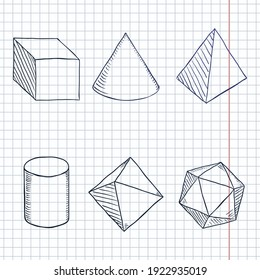 Vector Set of Hand Drawn Blue Sketch Geometry Shapes