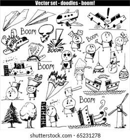 Vector set -  hand drawn - boom