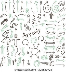 Vector set of hand drawn brown and green arrows isolated on white background