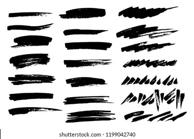 Vector set of hand drawn brush strokes and stains. One color monochrome artistic hand drawn backgrounds. Horizontal greyscale strokes as design elements.