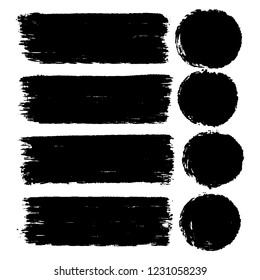 Vector set of hand drawn brush strokes in rectangular and round shape for backdrops. Monochromw artistic hand drawn backgrounds. Hand drawn list, menu, elements for design in black.