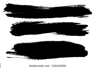 Vector set of hand drawn brush strokes, stains for backdrops. Monochrome design elements set. Black color artistic hand drawn backgrounds.