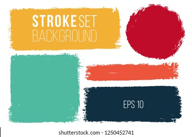 Vector set of hand drawn brush strokes and stains in various geometric shapes for backdrops. Colorful artistic hand drawn backgrounds.