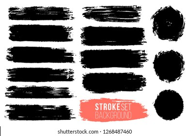 Vector set of hand drawn brush strokes, stains for backdrops. Monochrome design elements set. Black color artistic hand drawn backgrounds various shape.