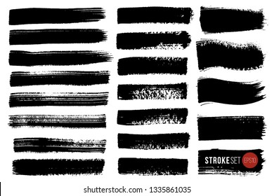 Vector set of hand drawn brush strokes and stains. One color monochrome artistic hand drawn backgrounds and graphic resources.