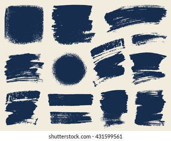 Vector set of hand drawn brush strokes and stains.