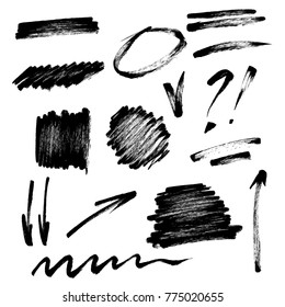 Vector set of hand drawn brush strokes and signs. Spots, arrows, tick, underlines and marks by brush pen.
