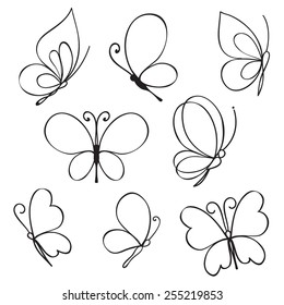 Vector Set of hand drawn butterflies