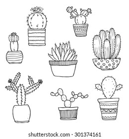 vector set of hand drawn cactus
