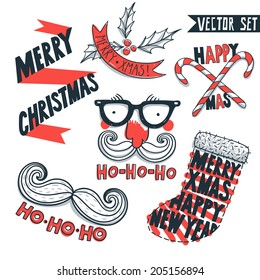 vector set of hand drawn Christmas and New Year vintage elements and illustrations