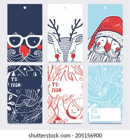 vector set of hand drawn Christmas and New Year gift tags