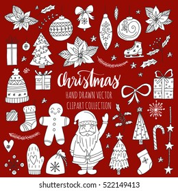 Vector set of hand drawn Christmas elements. Holiday clipart for your design