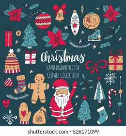 Vector set of hand drawn Christmas elements. Holiday clip art for your design