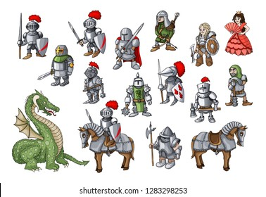 Vector set with hand drawn colored doodles on the theme of kingdom knights, princess and dragons isolated on white color. Vector set of fairy tale elements for use in design postcards or coloring book