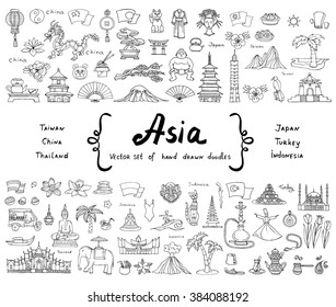 Vector set with hand drawn colored doodles on the theme of Asian countries - China, Japan, Turkey, Thailand, Taiwan, Indonesia. Tourism, travel and symbols. Sketches for use in design