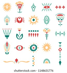 Vector set of hand drawn colorful cut out flowers and symbols. For posters, patterns, lettering.