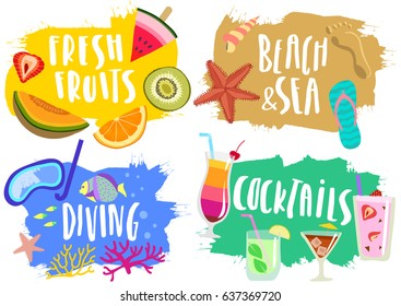 Vector set of hand drawn colorful  summer pictures with lettering. Labs, stickers, emblems with fruits, beach, diving, cocktails.