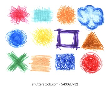 Vector set of  hand drawn in crayon backgrounds.