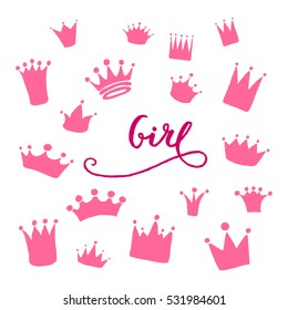 Vector set of hand drawn crowns for young prince or princess. A girl lettering. King and queen crown doodle style.