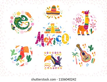Vector set of hand drawn decorative arrangements with traditional Mexican symbols and elements - Mexico lettering, decor, sombrero, guitar, cactus, llama, parrot,  etc. isolated on white background.