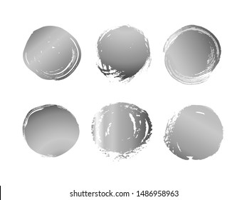 Vector set of hand drawn decorative elements with silver texture for design. Brush strokes grunge design elements. Collection of gold ink vector spots