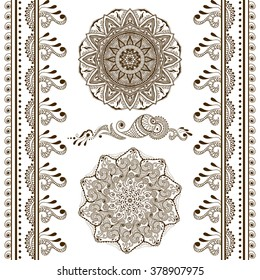 Vector set of hand drawn decorative elements in ethnic indian style. Collection of pattern brushes inside. Mehndi ornamental borders, pattern and mandalas. Henna design theme