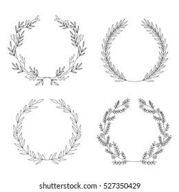 Vector set of hand drawn  decorative frames for your design. Wreath collection clip art
