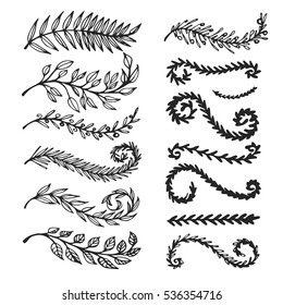 Vector set of hand drawn decorative elements for design. Leaves, swirls, floral elements.