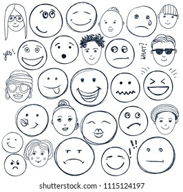 Vector set of hand drawn doodle faces, emotions. Black and white