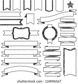 Vector Set of Hand Drawn Doodle Web Design Elements (filled with white)