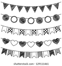 Vector Set of Hand Drawn Doodle Bunting