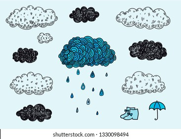 Vector set of hand drawn doodle clouds. Rainy day, weather forecast