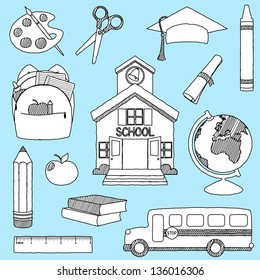 Vector Set of Hand Drawn Doodle School Vectors - filled with white