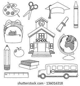 Vector Set of Hand Drawn Doodle School Vectors - unfilled