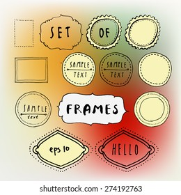 Vector set of hand drawn doodle frames on bright colorful blurred background. Collection of vector graphic design elements.