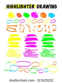 Vector set of hand drawn doodle elements. Text bubbles and balloons, frames and arrows isolated on light backdrop. Colorful paint drops. Elements for comic art design.