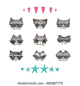Vector Set of Hand Drawn Doodle Cute Stylish Trendy Hipster Cats with Sunglasses