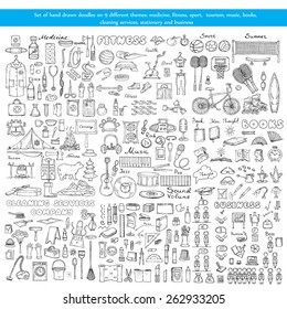 Vector set of hand drawn doodles on 9 different theme - medicine, fitness, sport, tourism, music, books, cleaning services, stationery and business. Sketches for use in design