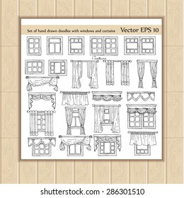 Vector set of hand drawn doodles with windows and curtains on white background. Sketches for use in design